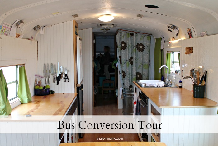 Bus conversion tour - it's almost done! (I love the shower!)